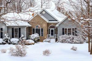Garage door repair- House in the Winter.