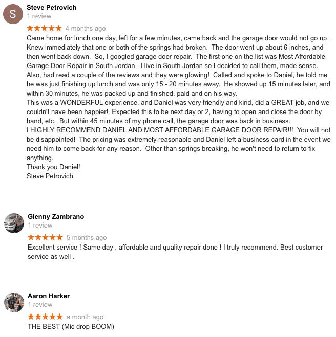 Our reviews for Garage door repair utah county
